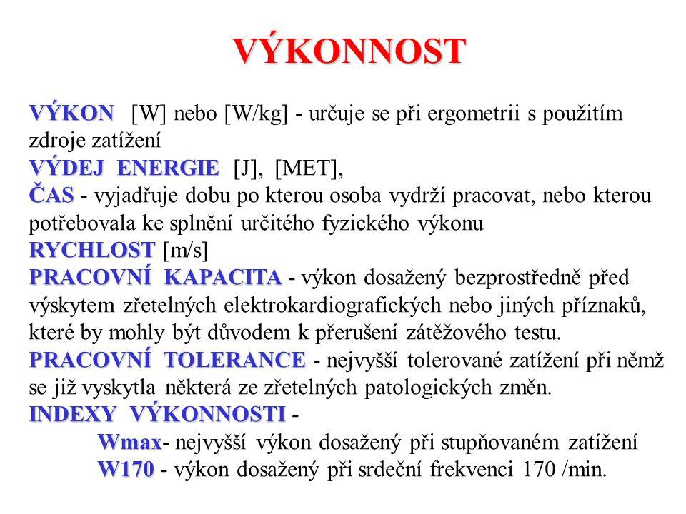 VÝKONNOST VÝKON [W] nebo [W/kg] - určuje se při ergometrii s použitím zdroje zatížení. VÝDEJ ENERGIE [J], [MET],